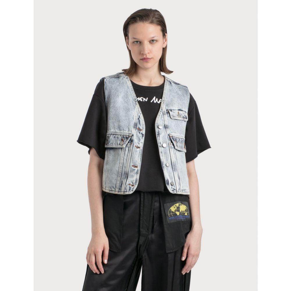 メゾン マルジェラ MM6 Maison Margiela レディース ジャケット アウター【Denim Vest With Crossbody Pocket】Blue 's Snow