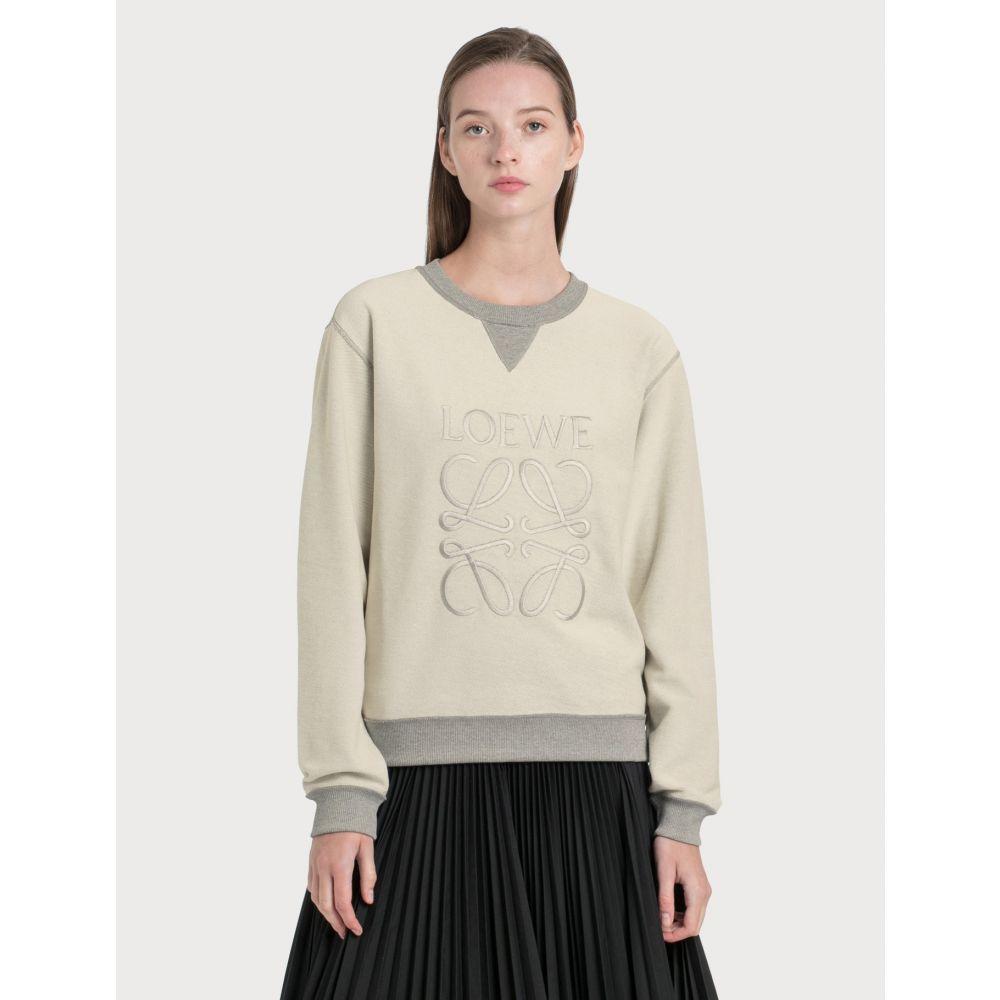 ロエベ Loewe レディース スウェット・トレーナー トップス【anagram embroidered sweatshirt】Grey Melange
