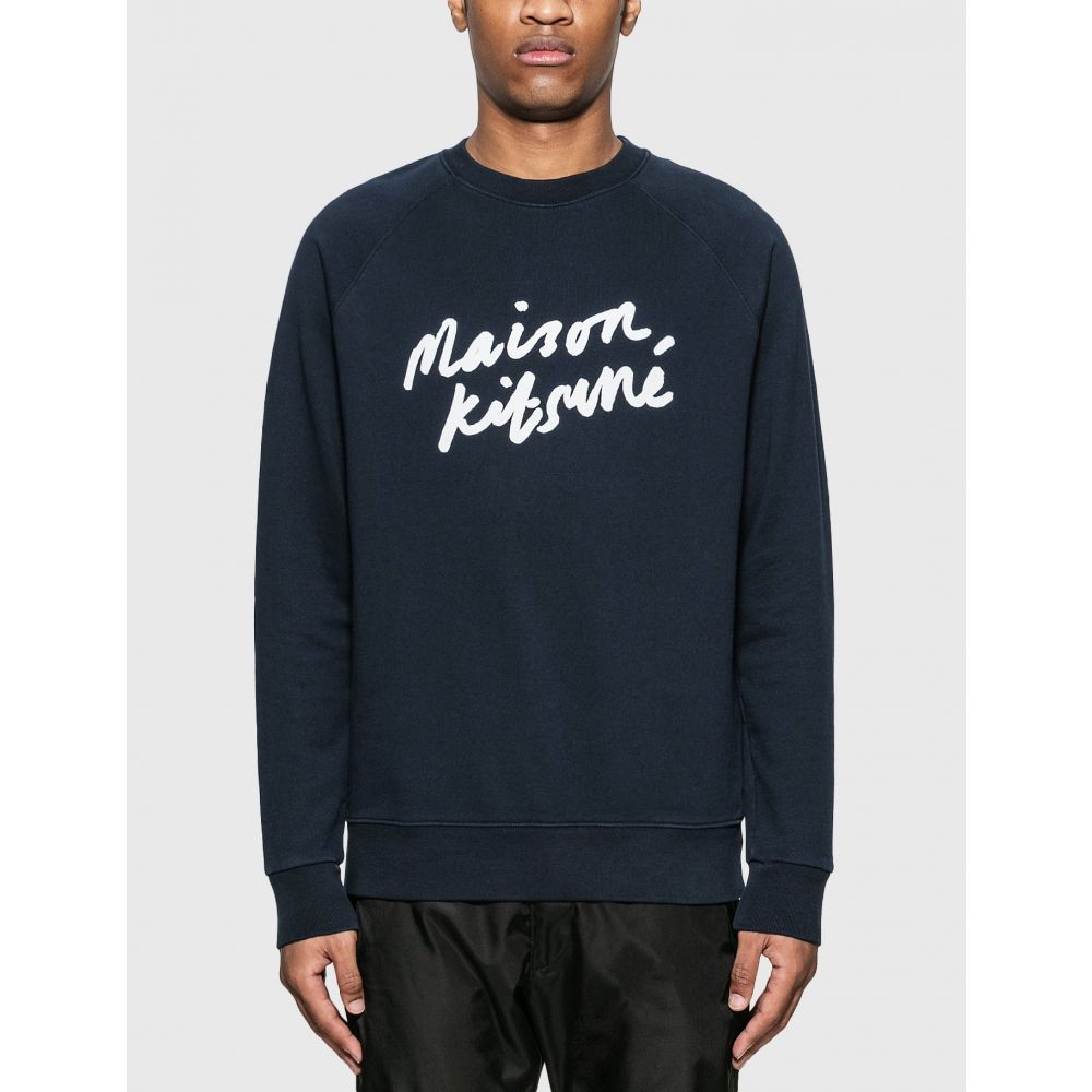 メゾン キツネ Maison Kitsune メンズ スウェット・トレーナー トップス【handwriting clean sweatshirt】Navy