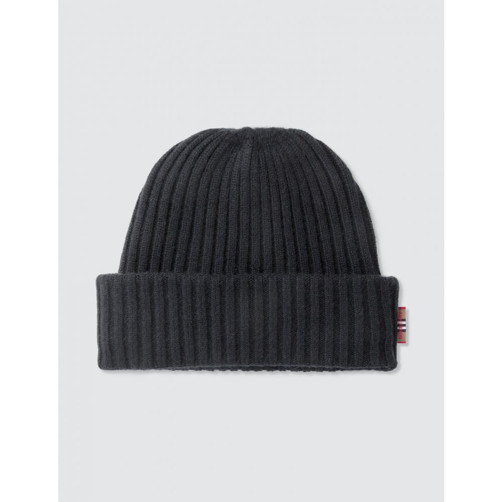 バーバリー Burberry メンズ ニット ビーニー 帽子【Icon Stripe Trim Rib Knit Cashmere Beanie】Black