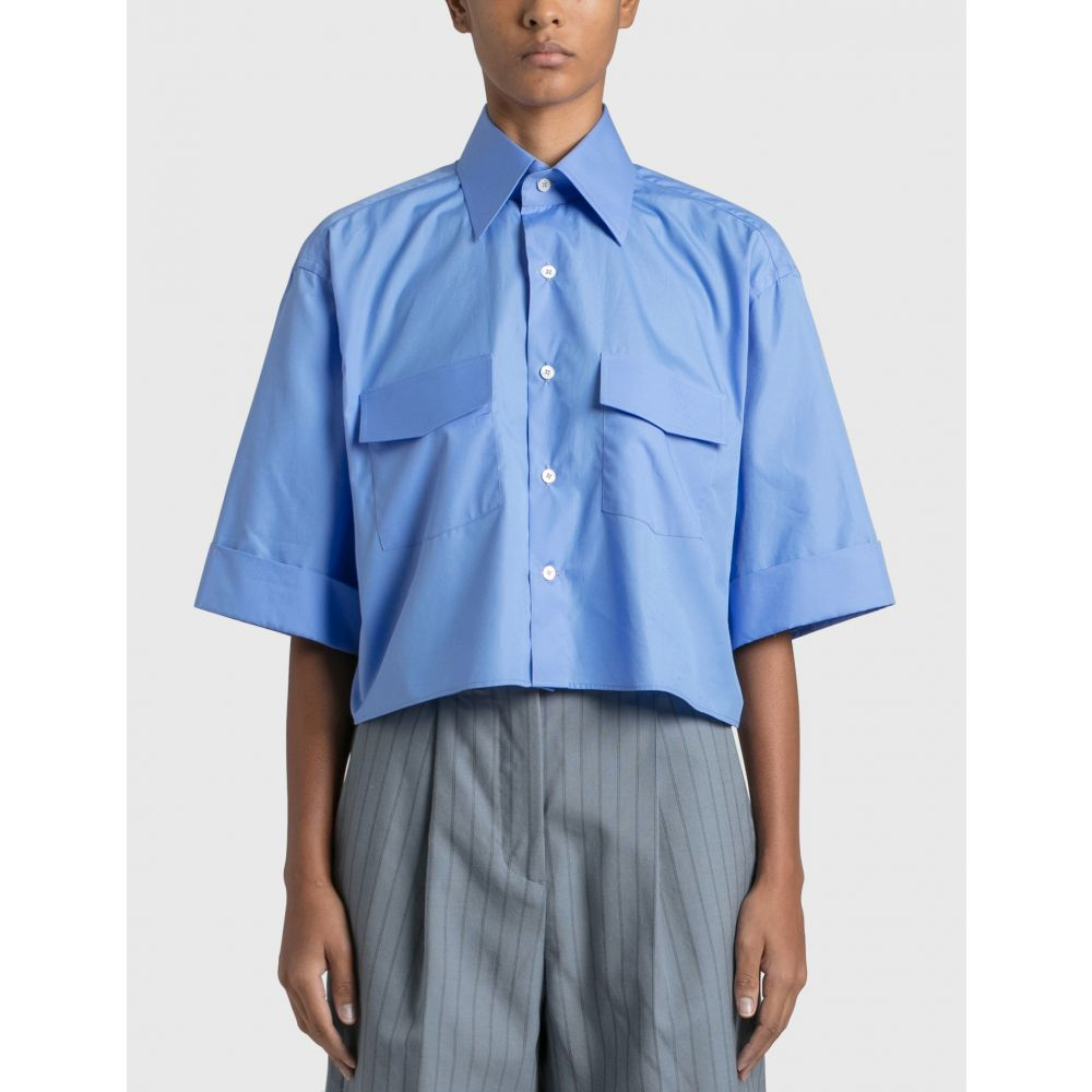 Woera 市販 レディース トップス ベアトップ チューブトップ クロップド サイズ交換無料 Sky Safari Blue Cropped Shirt 激安
