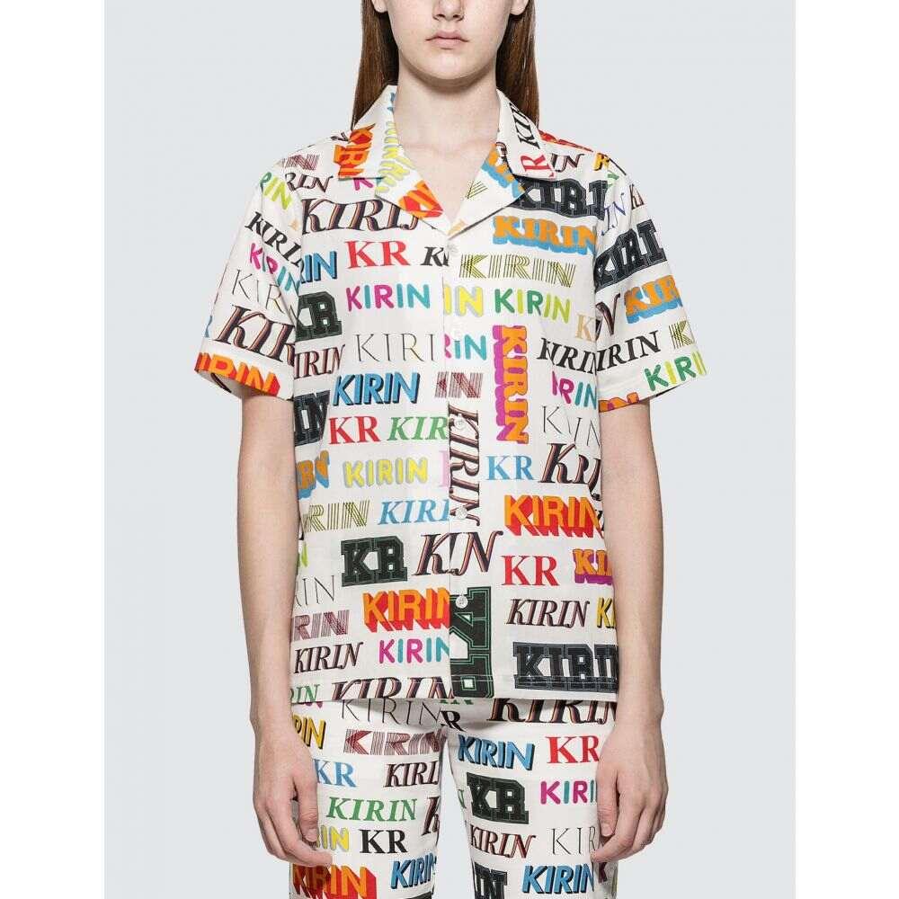 キリン Kirin レディース ブラウス・シャツ トップス【Typo Drill Regular Shirt】White/Multicolor