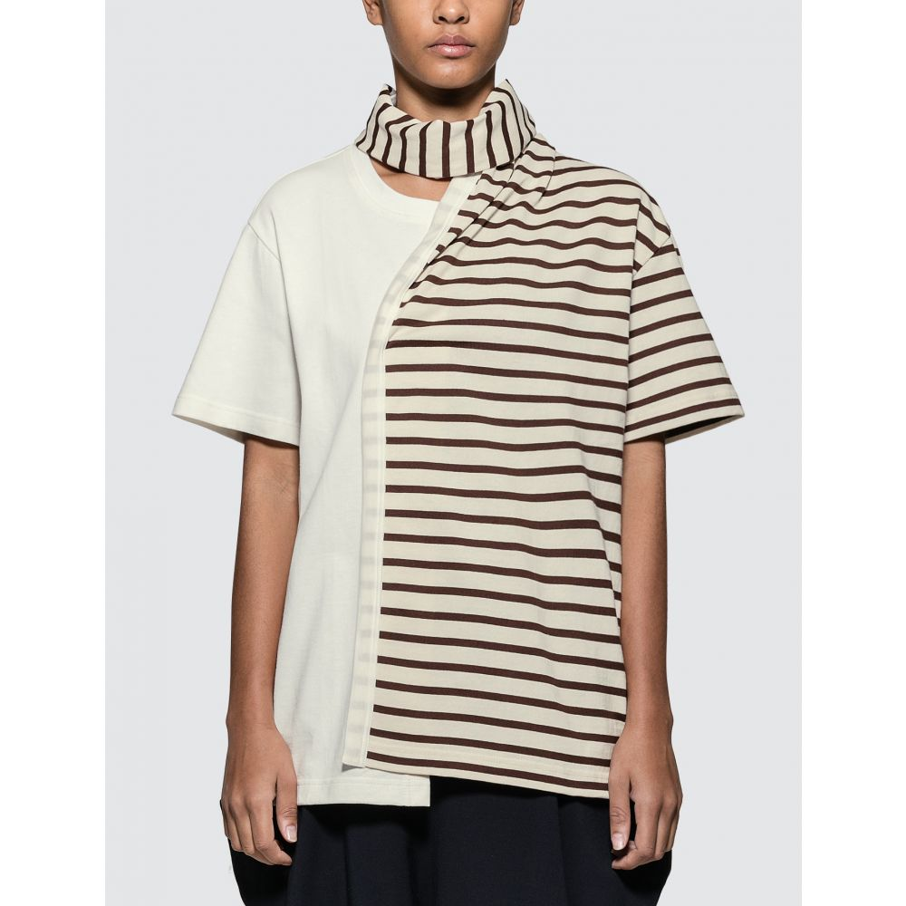 J.W.アンダーソン JW Anderson レディース Tシャツ トップス【Striped Jersey Tee With Draped Scarf】Chocolate Brown