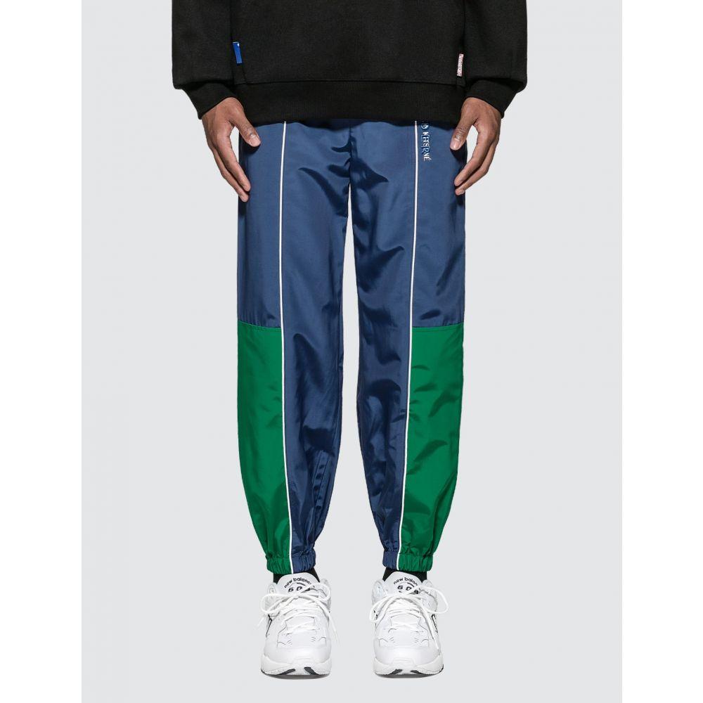 メゾン キツネ Maison Kitsune メンズ スウェット・ジャージ ボトムス・パンツ【Ader Error x Line Track Pants】Navy/Green
