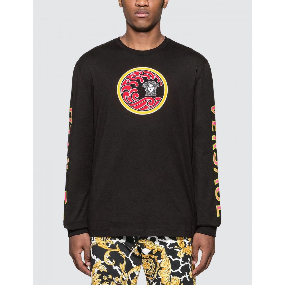 ヴェルサーチ Versace メンズ 長袖Tシャツ トップス【Japanese Print Long Sleeve T-shirt】Black