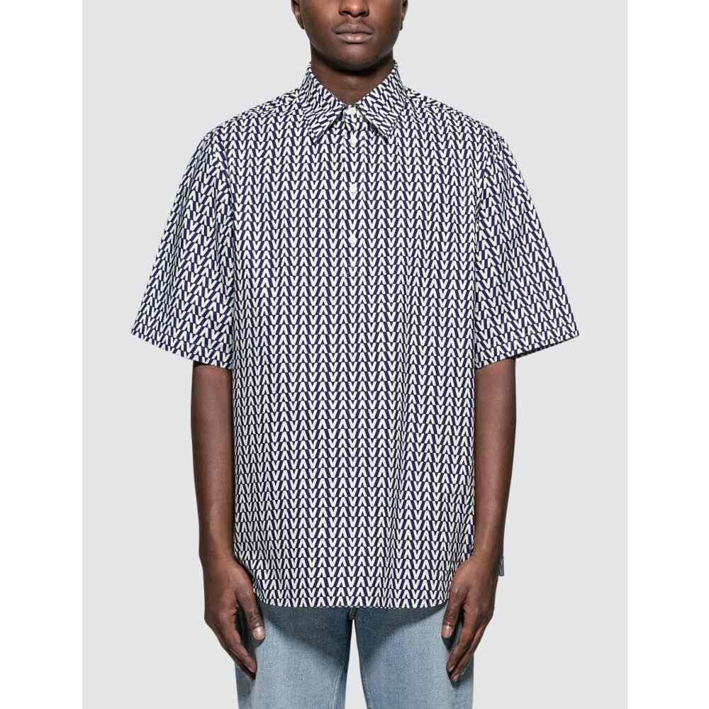 ヴァレンティノ Valentino メンズ ポロシャツ トップス【Oversized Optical Polo Collar Cotton Shirt】Blue