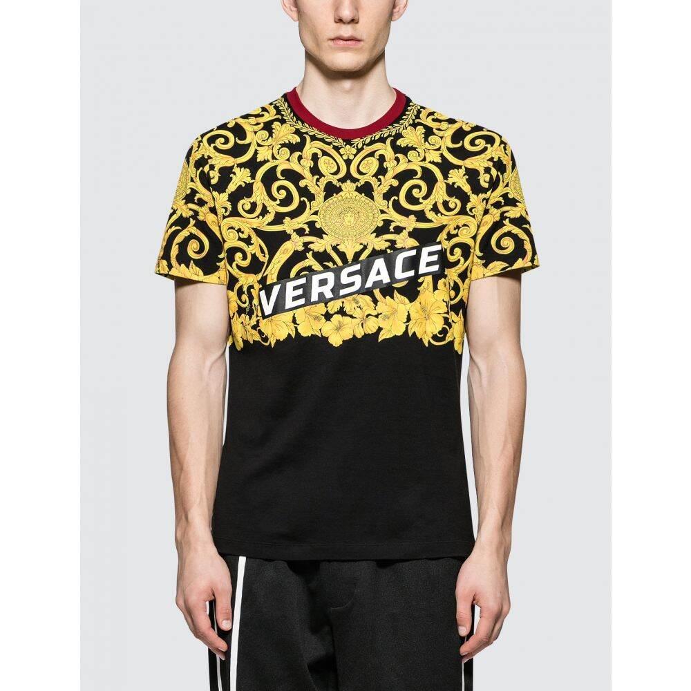 ヴェルサーチ Versace メンズ Tシャツ トップス【Feather Print S/S T-Shirt】Black