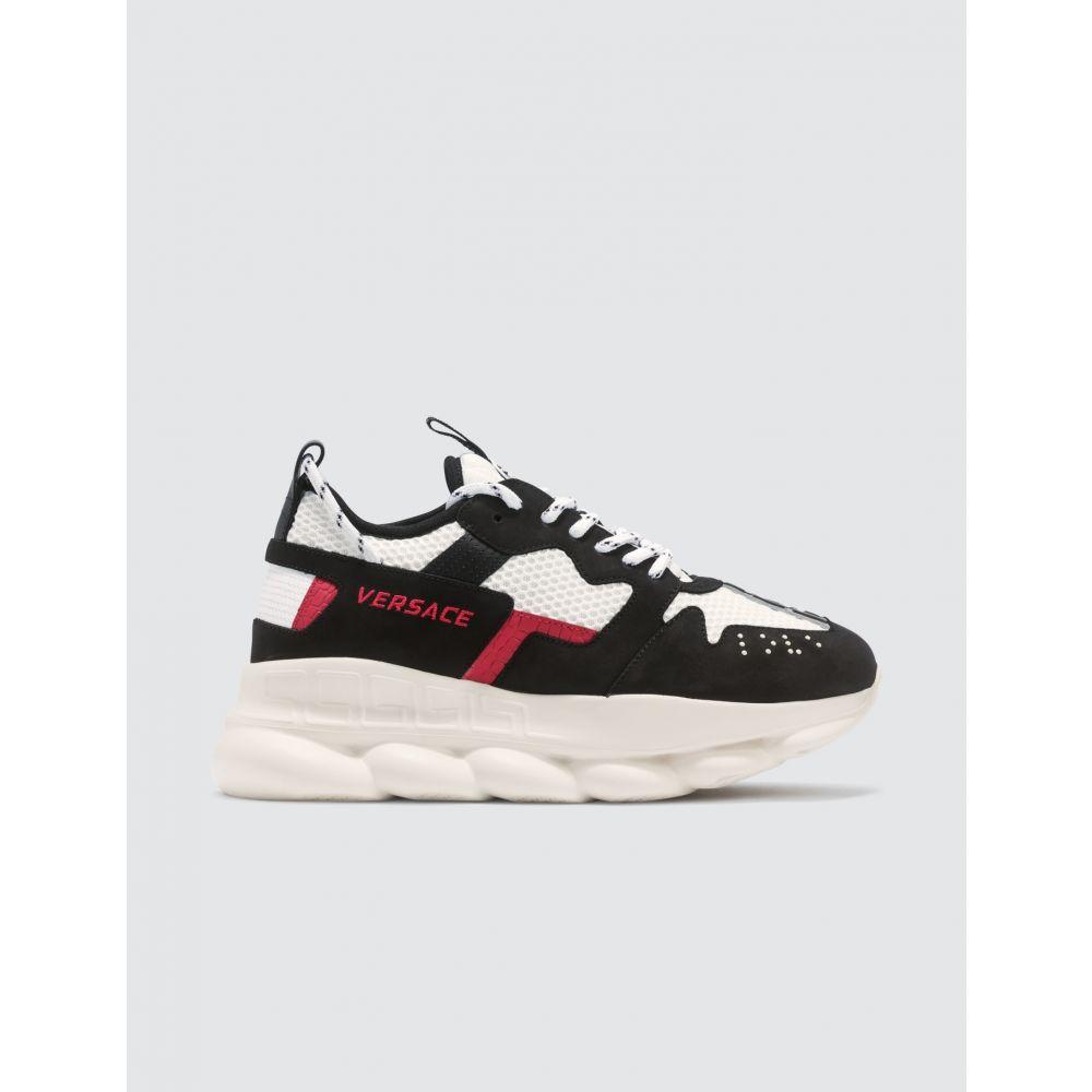 ヴェルサーチ Versace メンズ スニーカー シューズ・靴【Chain Reaction Sneakers】Black/Red/White