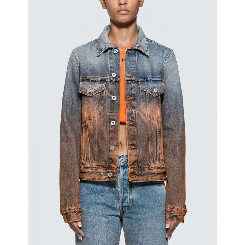 オフホワイト Off-White レディース ジャケット Gジャン アウター【Degrade Denim Jacket】Washed Blue/Orange