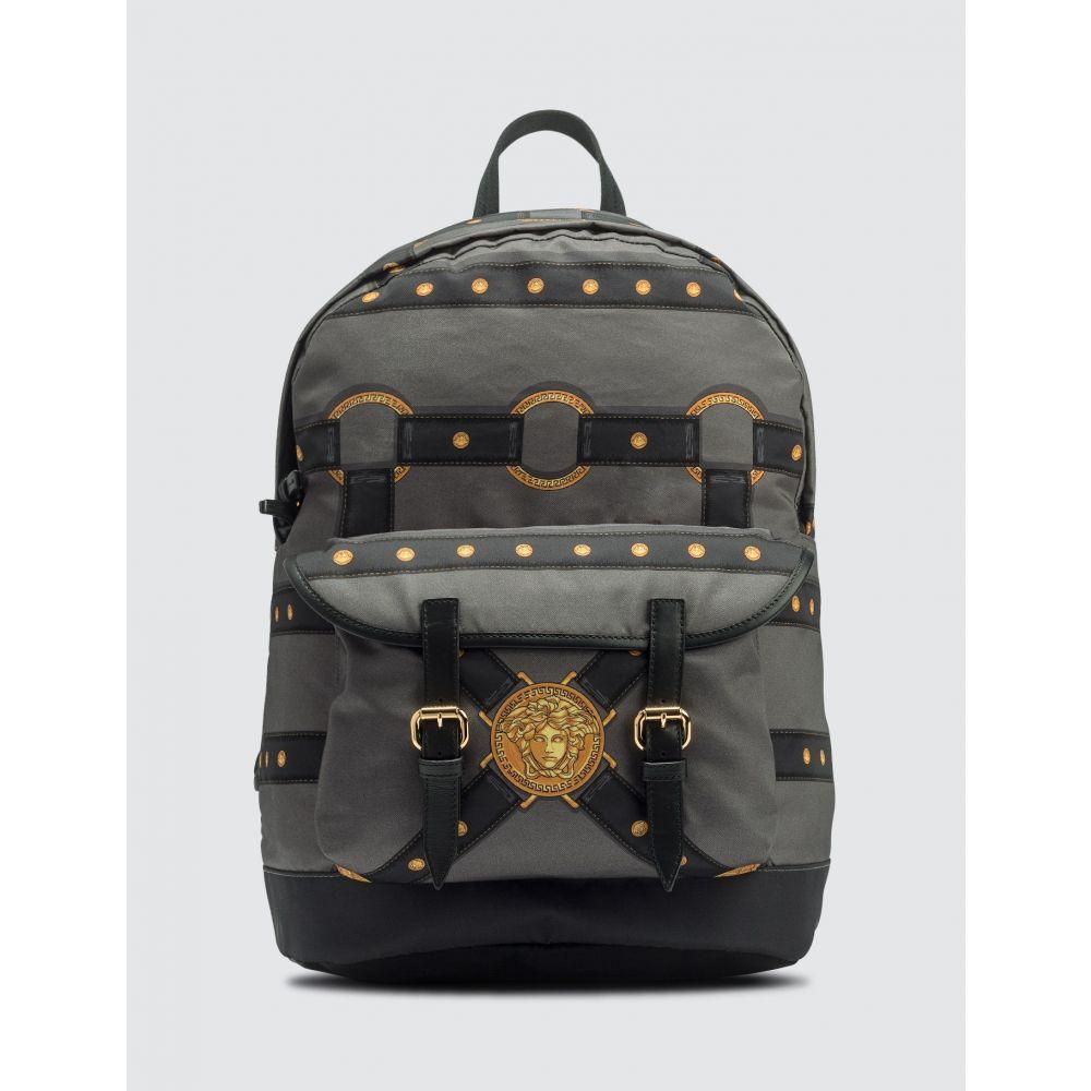 ヴェルサーチ Versace メンズ バックパック・リュック バッグ【Harness Print Backpack】Dark Grey