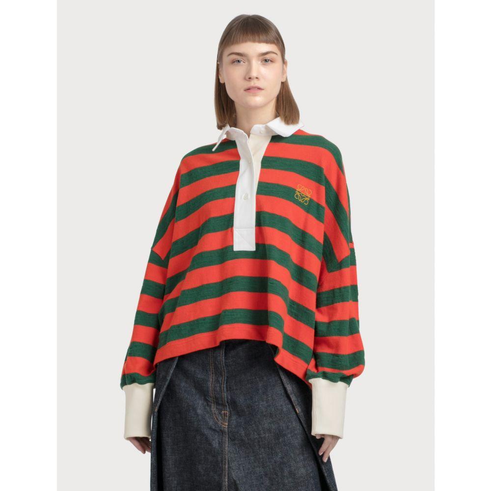 ロエベ Loewe レディース ポロシャツ トップス【Stripe Long Sleeve Polo】Orange/Green