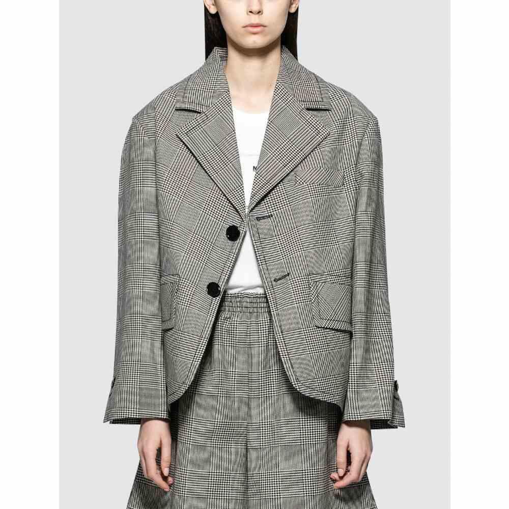 メゾン マルジェラ MM6 Maison Margiela レディース スーツ・ジャケット アウター【Plaid Blazer】White + Black