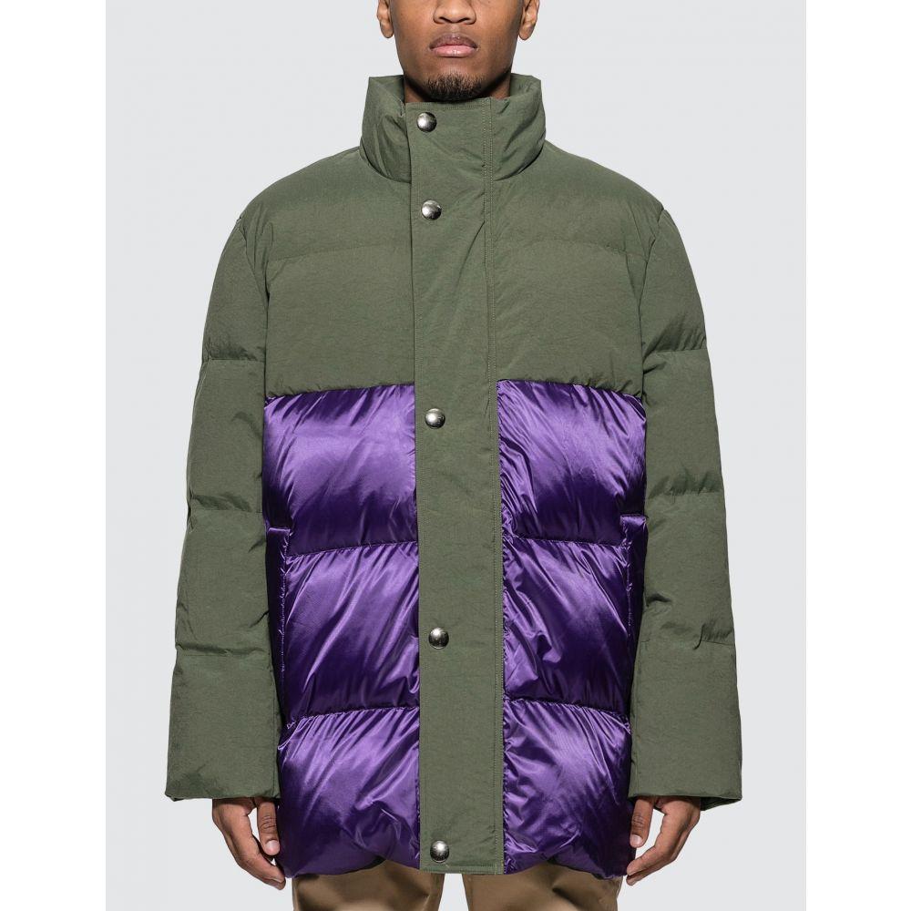 アクネ ストゥディオズ Acne Studios メンズ ダウン・中綿ジャケット アウター【Contrast Panel Down Coat】Khaki Green/Purple