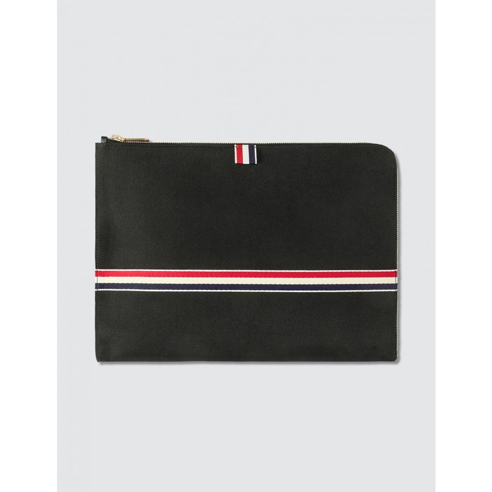 トム ブラウン Thom Browne メンズ ビジネスバッグ・ブリーフケース バッグ【RWB Webbing Large Gusset Folio】Black