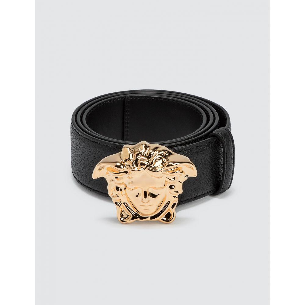 ヴェルサーチ Versace メンズ ベルト メデューサ【Palazzo Belt With Medusa Buckle】Black/Gold