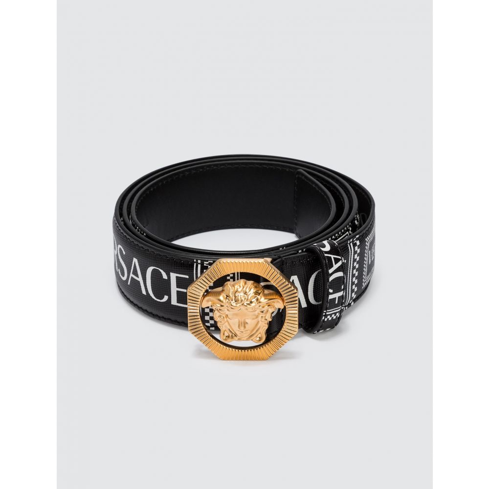 ヴェルサーチ Versace メンズ ベルト 【90s Vintage Logo Leather Belt】Black/Gold