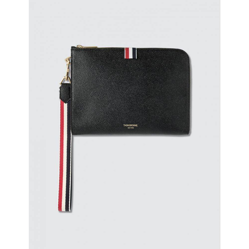 トム ブラウン Thom Browne メンズ ビジネスバッグ・ブリーフケース バッグ【RWB Strap Medium Gusset Folio】Black