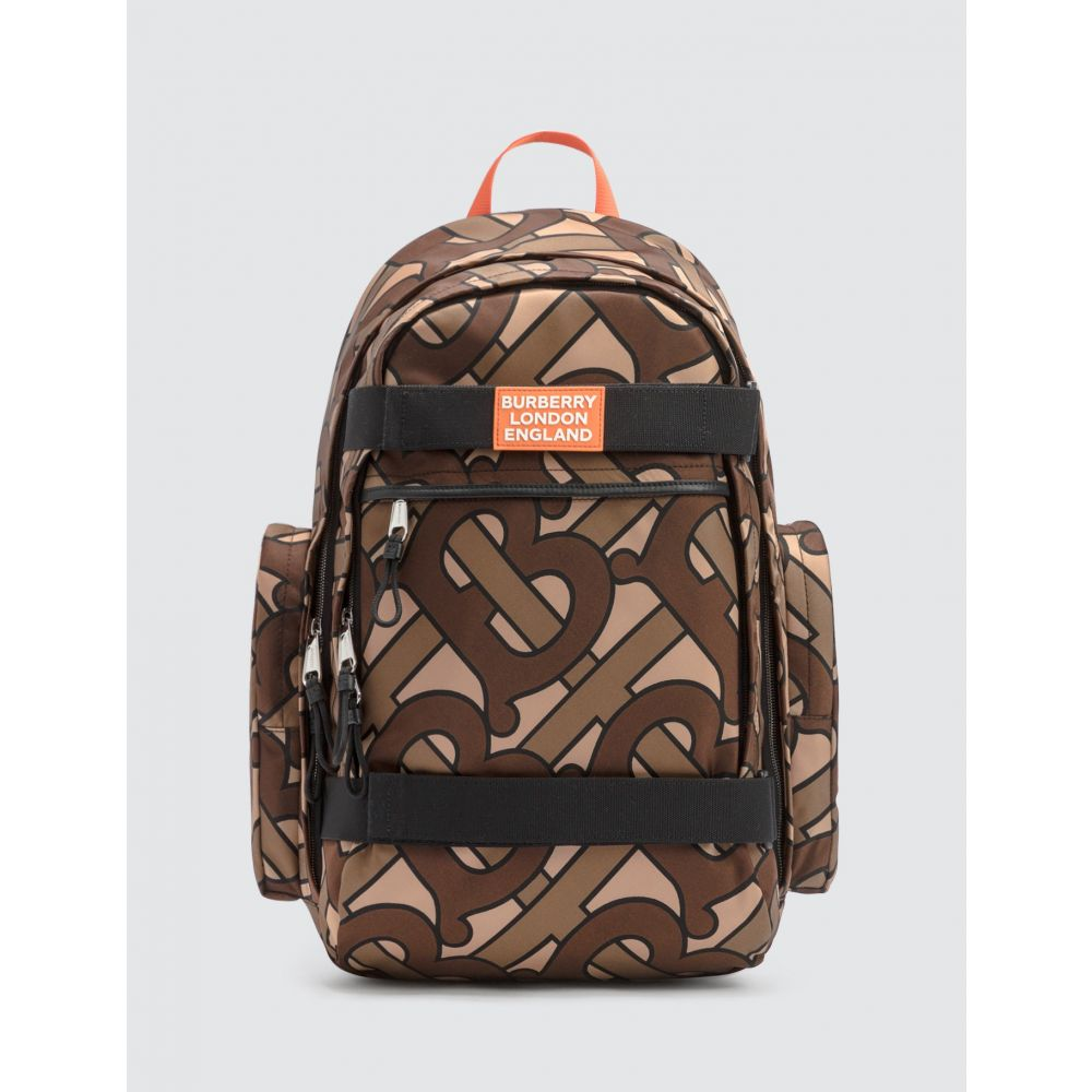 バーバリー Burberry メンズ バックパック・リュック バッグ【Large Leather Trim Monogram Print Nevis Backpack】Bridle Brown