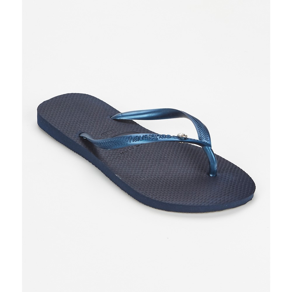 ハワイアナス レディース シューズ・靴 ビーチサンダル【Havaianas Slim Crystal Glamour Flip Flops】Navy Blue