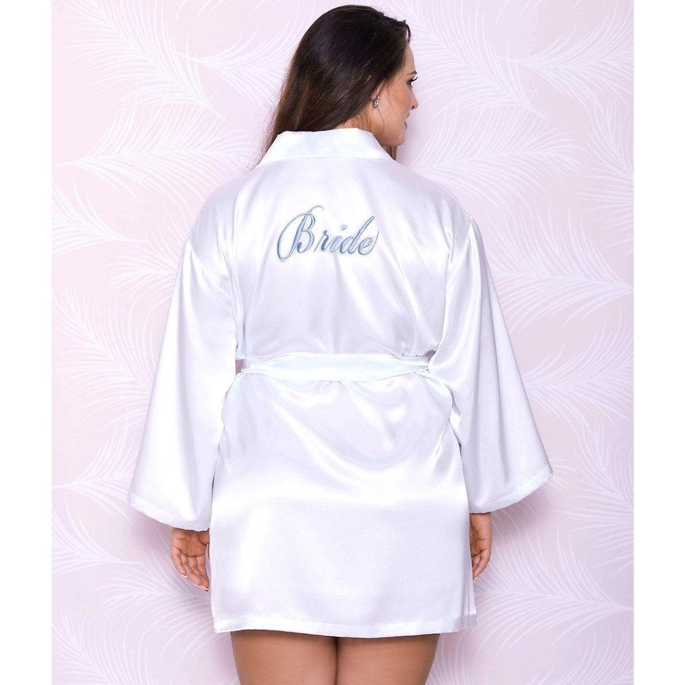 アイコレクション レディース インナー・下着 ガウン・バスローブ【iCollection Plus Size Satin Bride Robe】White