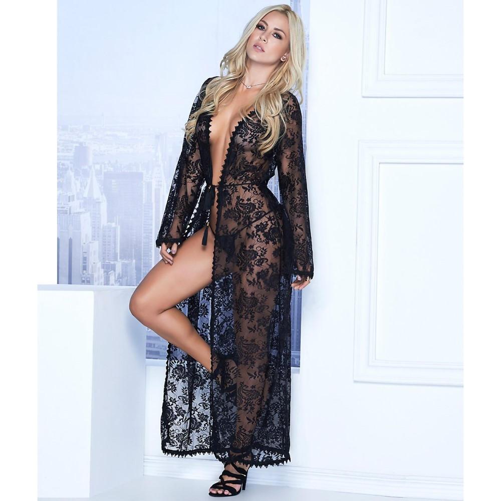 マパレ レディース インナー・下着 ガウン・バスローブ【Mapale Long Lace Robe & G-String Set】Black