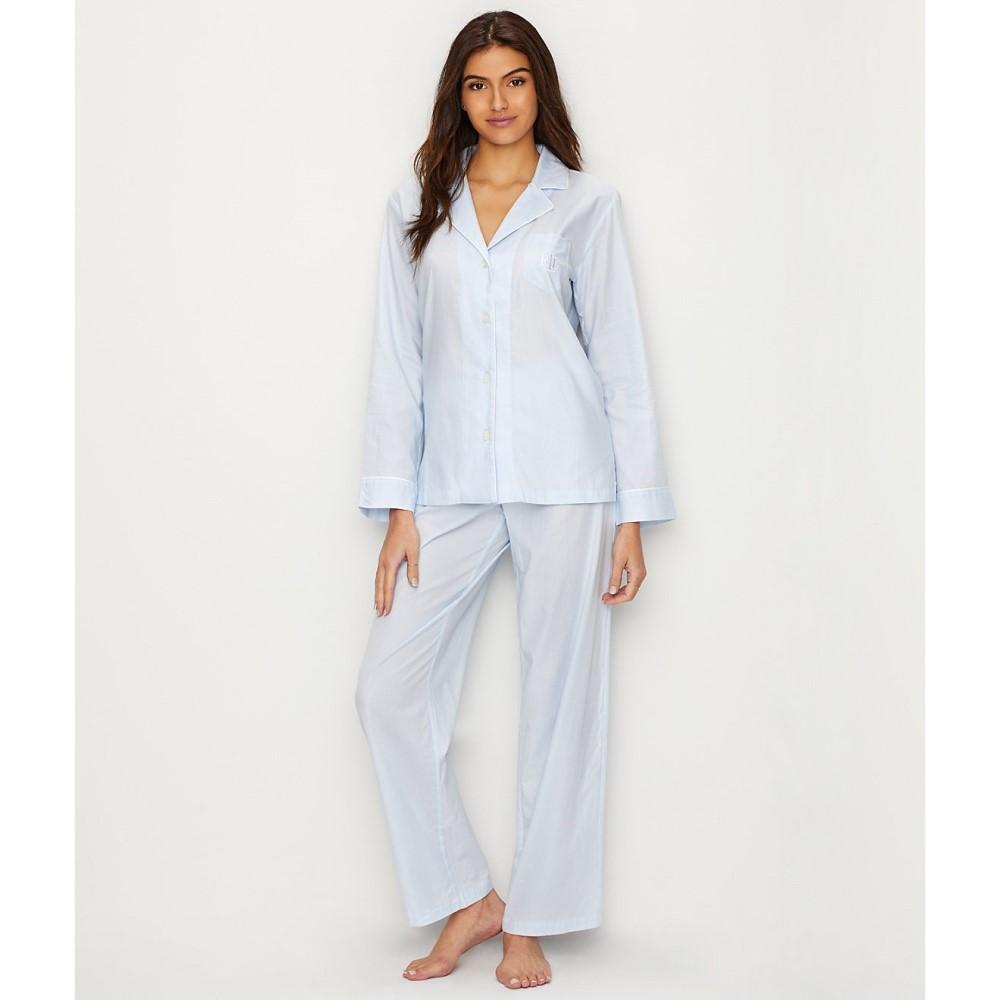 ラルフ ローレン レディース インナー・下着 パジャマ・上下セット【Lauren Ralph Lauren Classic Woven Pajama Set】Blue