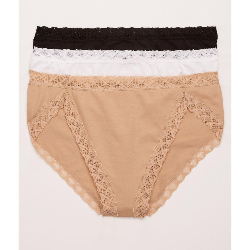 ナトリ レディース インナー・下着 ショーツのみ【Natori Bliss French Cut Bikini 3-Pack】Black/White/Cafe