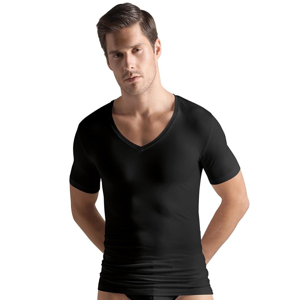 ハンロ メンズ トップス Tシャツ【Hanro Cotton Superior V-Neck T-Shirt】Black