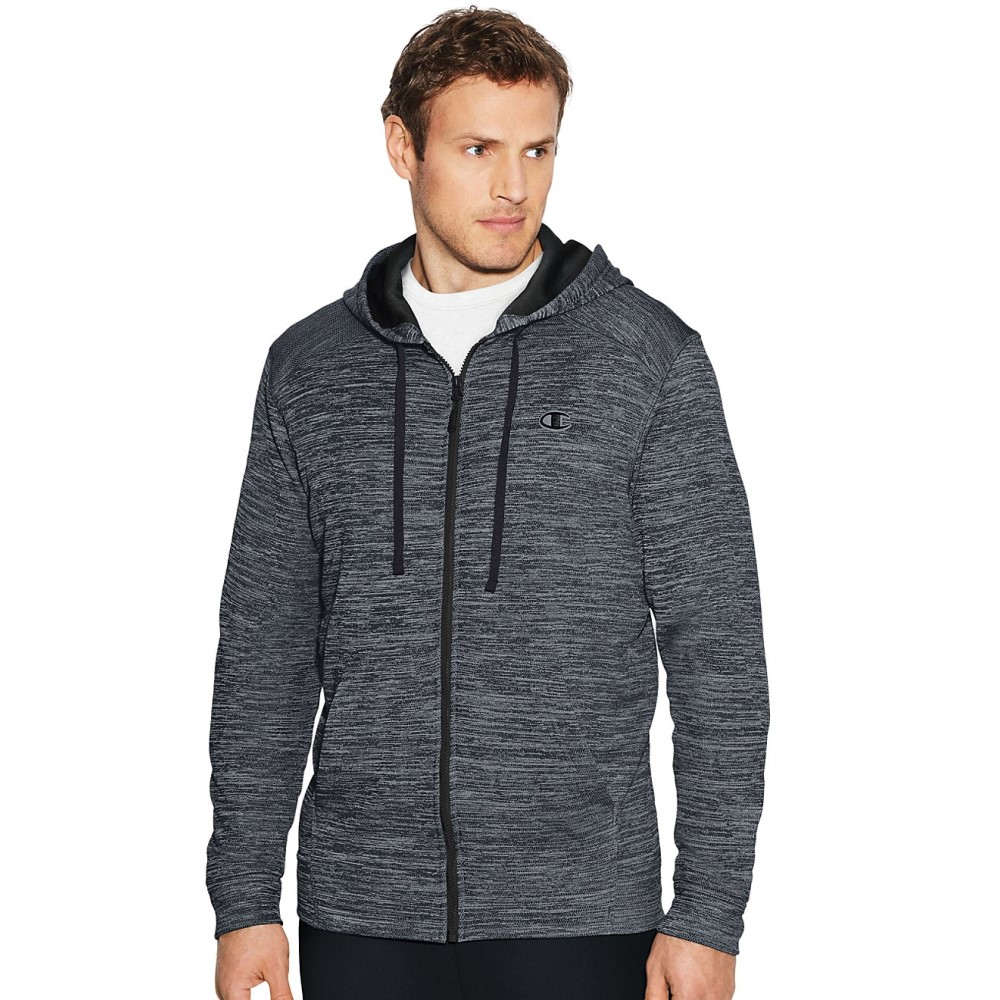 チャンピオン メンズ トップス フリース【Champion Premium Full Zip Tech Fleece】Stealth Heather