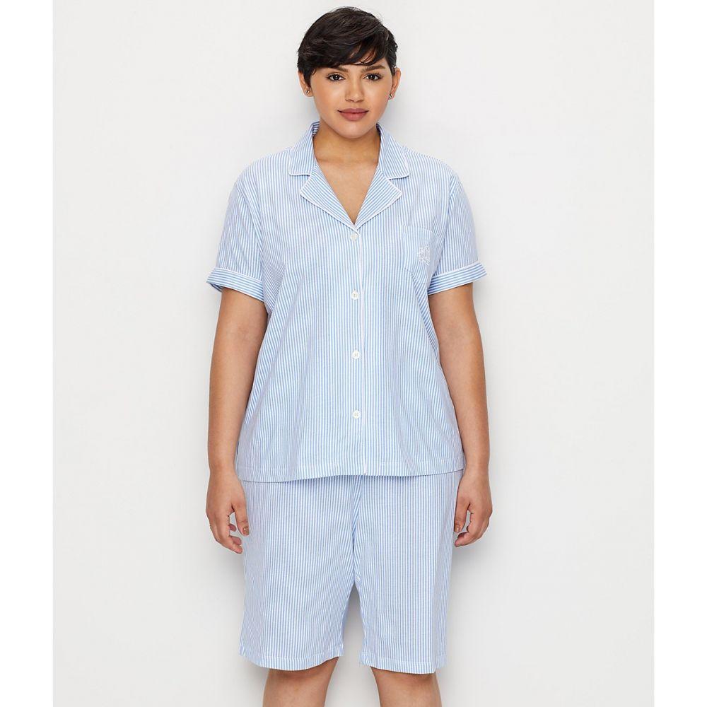 ラルフ ローレン Lauren Ralph Lauren レディース インナー・下着 パジャマ・上下セット【Plus Size Cotton Bermuda Pajama Set】Blue Stripe