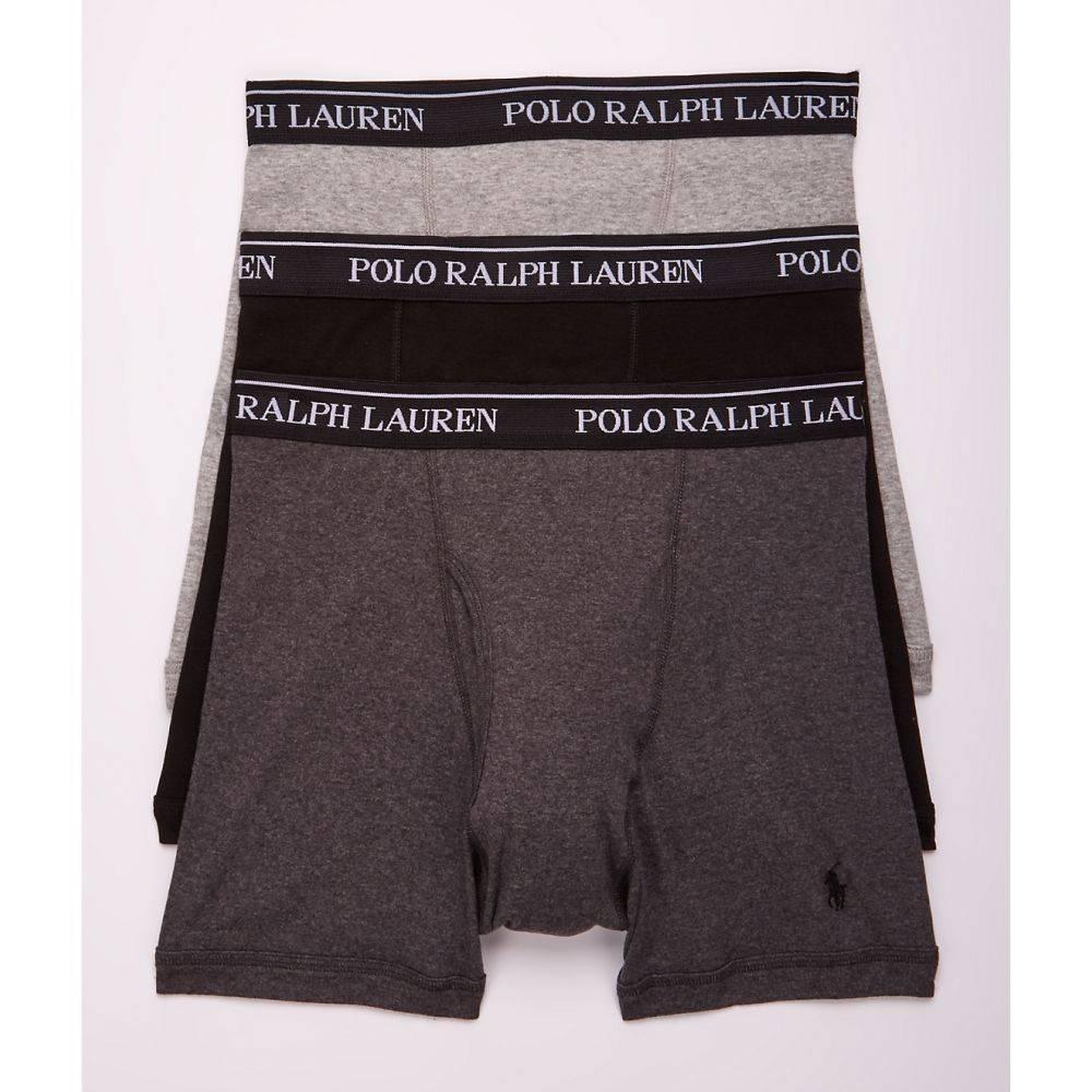 ラルフ ローレン Polo Ralph Lauren メンズ インナー・下着 ボクサーパンツ【Classic Fit Cotton Boxer Brief 3-Pack】Black / Grey Combo