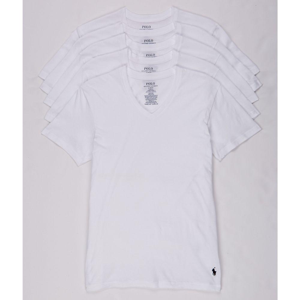ラルフ ローレン Polo Ralph Lauren メンズ トップス Tシャツ【Classic Fit Cotton V-Neck T-Shirt 5-Pack】White