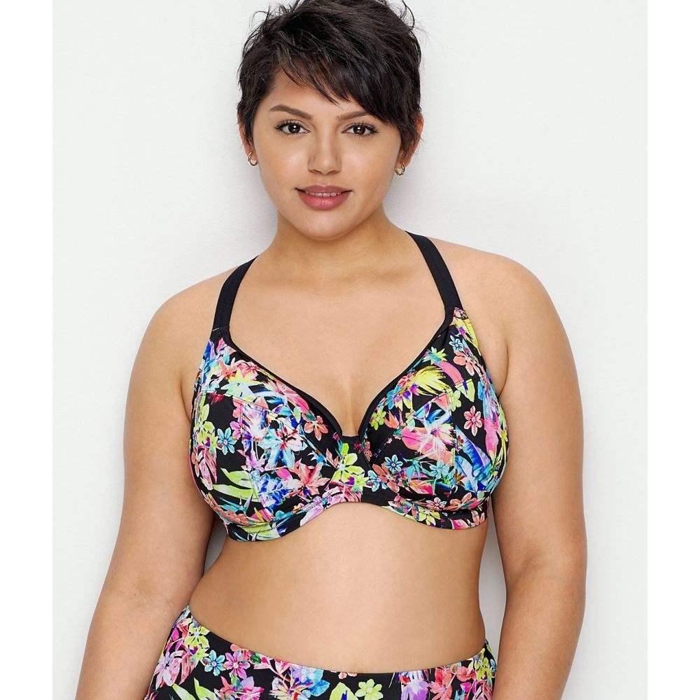 エロミ Elomi レディース トップのみ 大きいサイズ 水着・ビーチウェア【Plus Size Electroflower Plunge Bikini Top】Multi