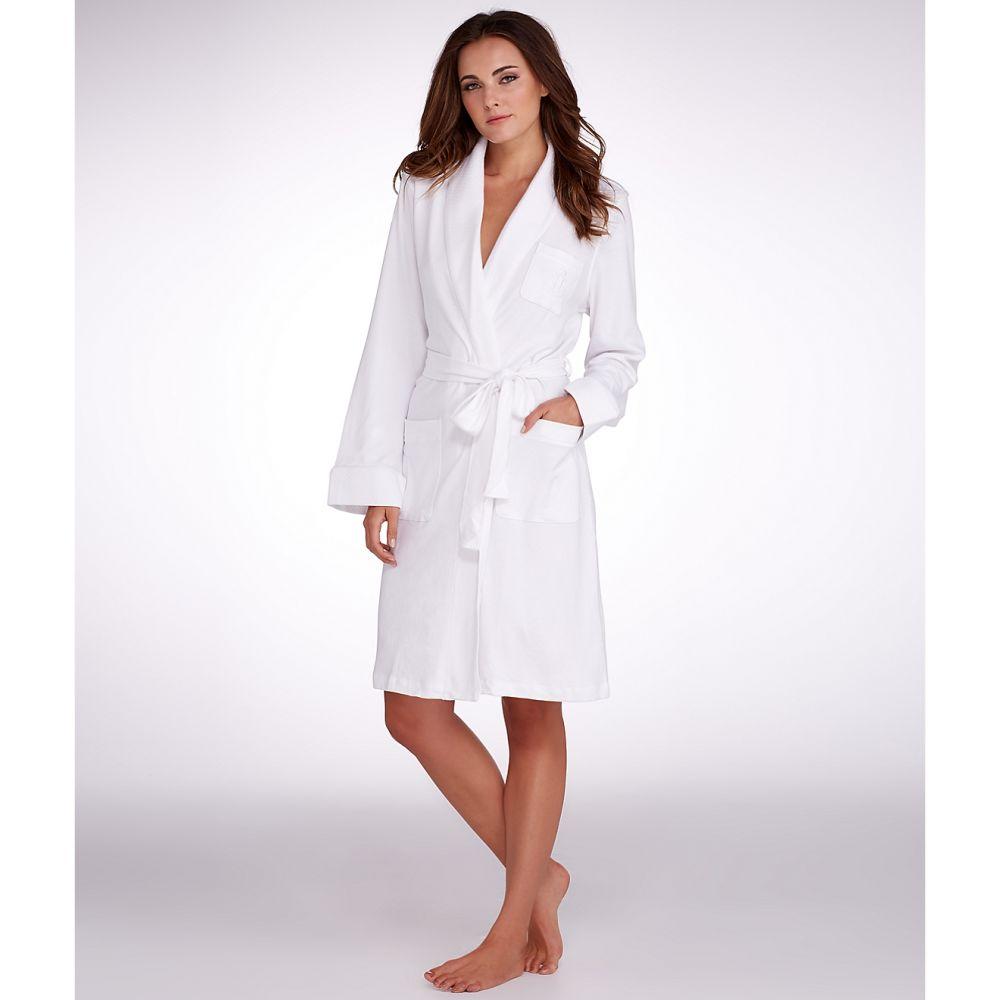 ラルフ ローレン Lauren Ralph Lauren レディース ガウン・バスローブ インナー・下着【hartford lounge shawl collar knit robe】White