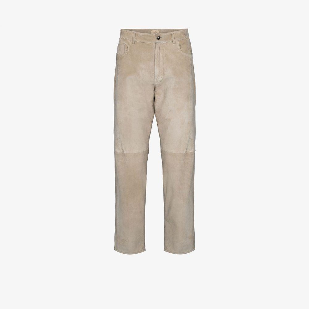 アイモネ Ajmone メンズ ボトムス・パンツ 【Suede Straight Leg Trousers】neutrals