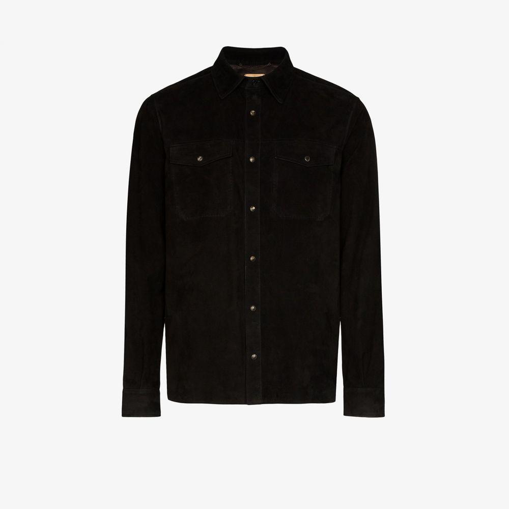 アイモネ Ajmone メンズ シャツ トップス【Molly chest pocket suede shirt】black