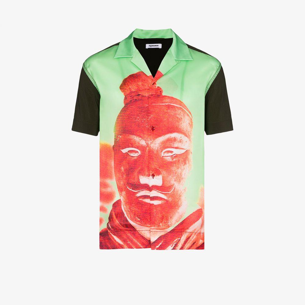 プロナウンス Pronounce メンズ シャツ トップス【Statue print button-down shirt】green