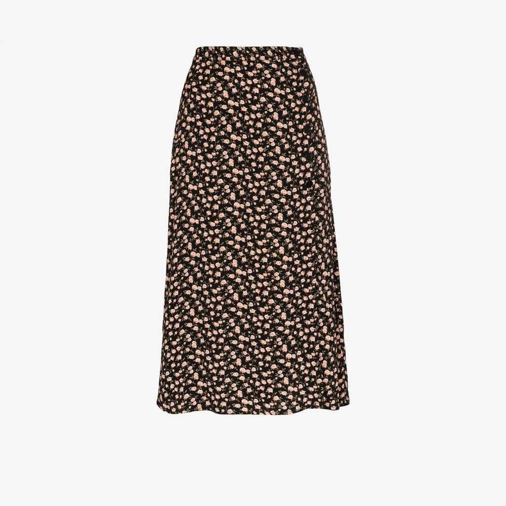 リフォーメーション Reformation レディース ひざ丈スカート スリットスカート スカート【Jaime floral slit midi skirt】black