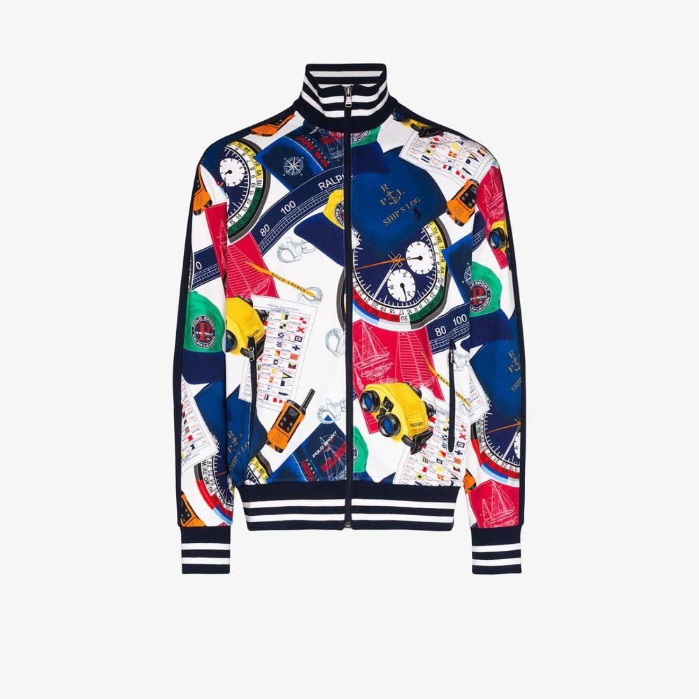ラルフ ローレン Polo Ralph Lauren メンズ シャツ トップス【yacht print zip-up sweatshirt】white