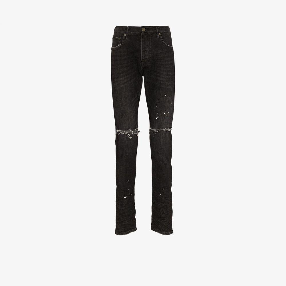パープル ブランド purple brand メンズ ジーンズ・デニム リップドジーンズ ボトムス・パンツ【Distressed ripped knee jeans】black