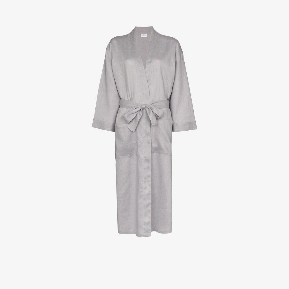 プーラ ファム Pour Les Femmes レディース ガウン・バスローブ インナー・下着【Grey long linen robe】grey