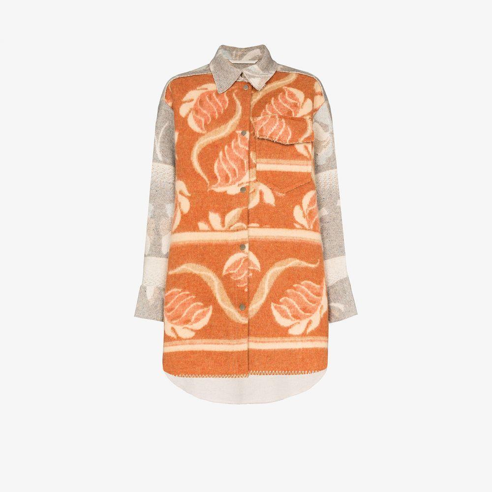 レイブ レビュー Rave Review レディース ブラウス・シャツ トップス【Rakel oversized printed wool shirt】brown