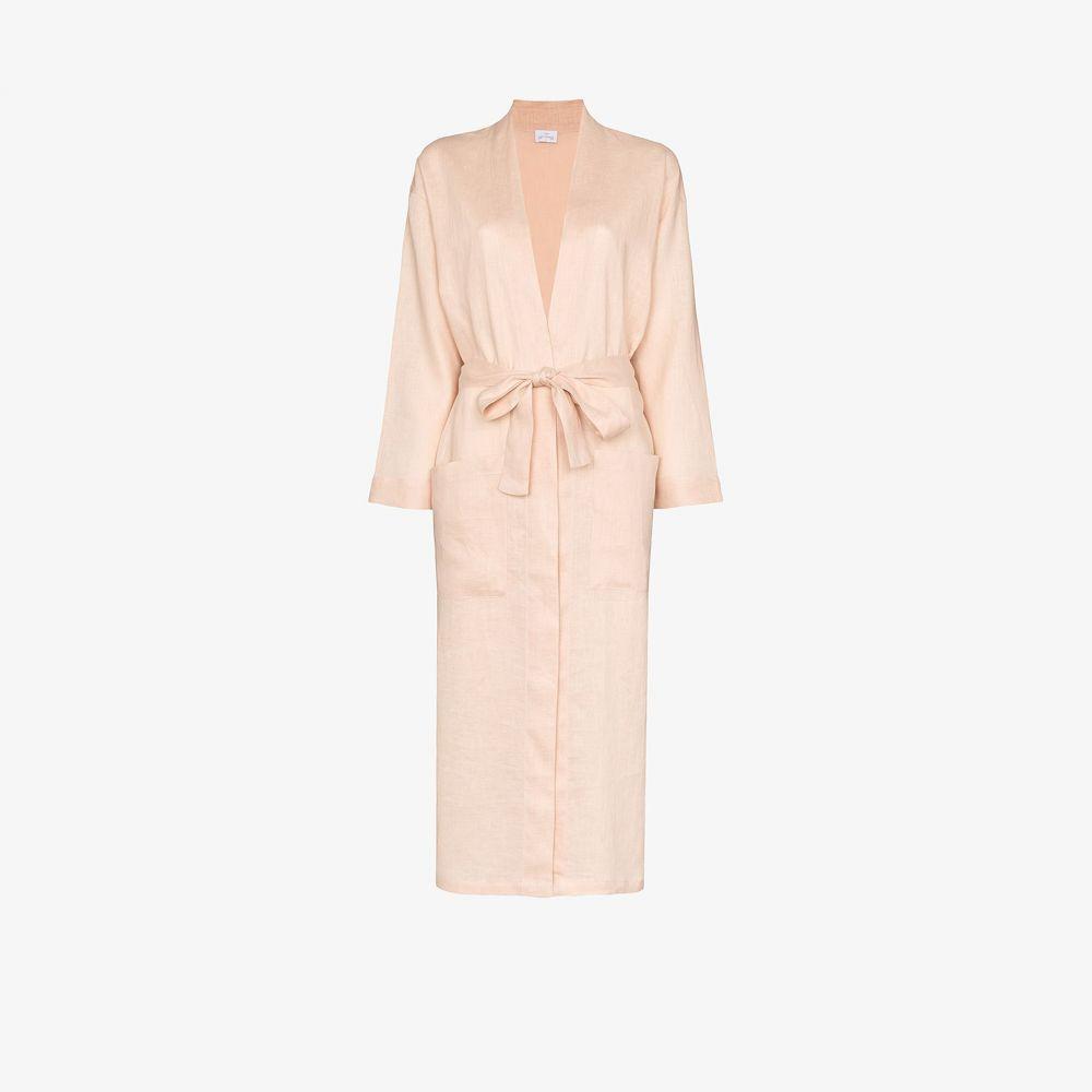 プーラ ファム Pour Les Femmes レディース ガウン・バスローブ インナー・下着【Light Pink long linen robe】pink