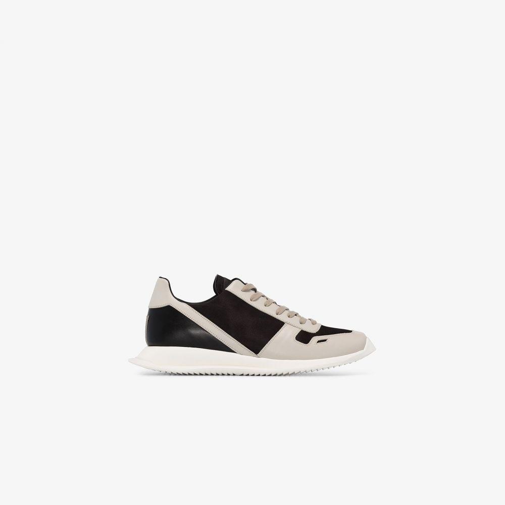 リック オウエンス Rick Owens メンズ ランニング・ウォーキング スニーカー シューズ・靴【black and white leather running sneakers】black