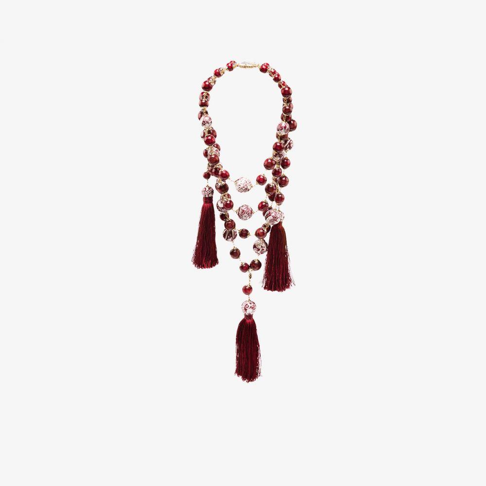 ロザンティカ Rosantica レディース ネックレス ジュエリー・アクセサリー【red Ortica bead drape tassel necklace】red
