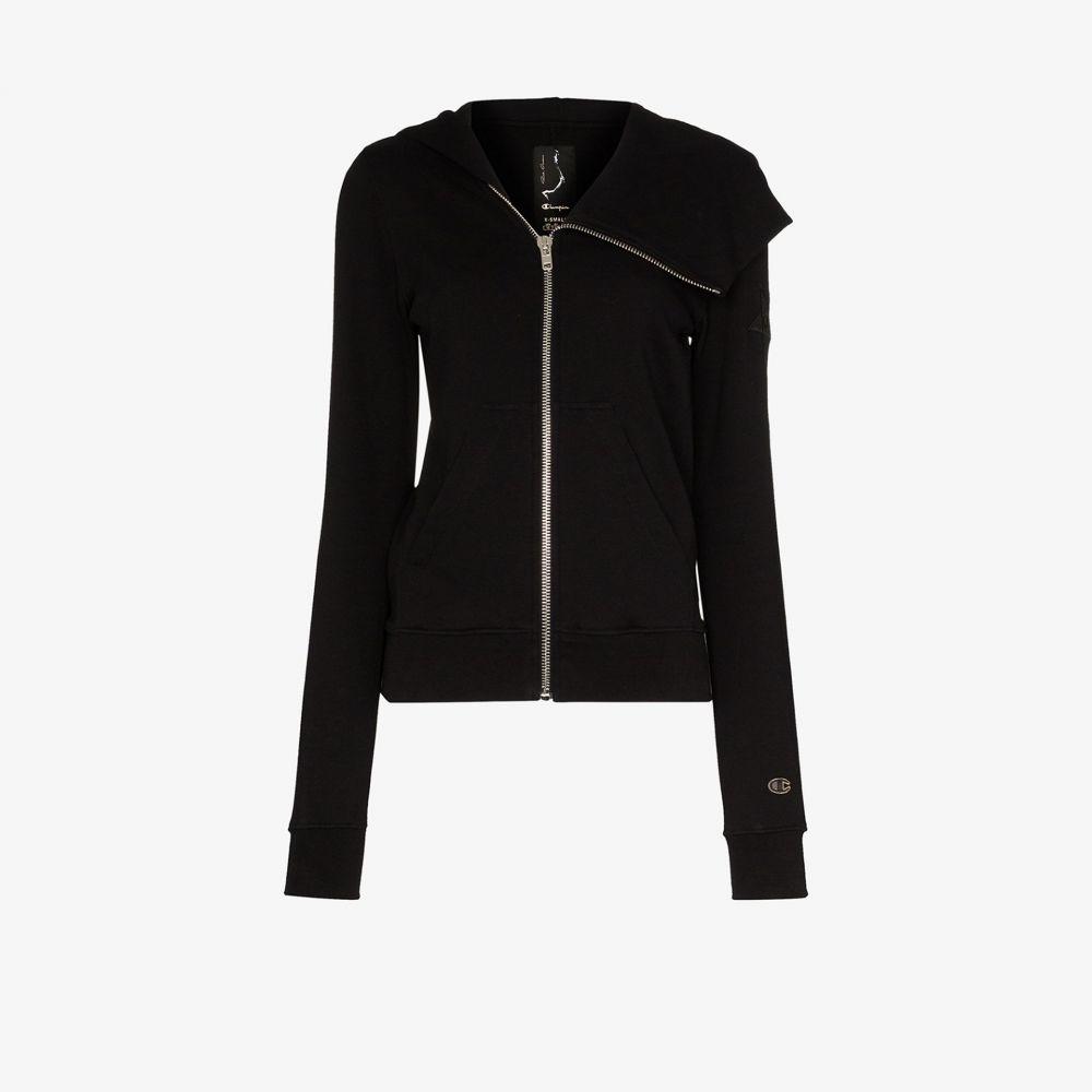リック オウエンス Rick Owens X Champion レディース パーカー トップス【asymmetric zip hoodie】black