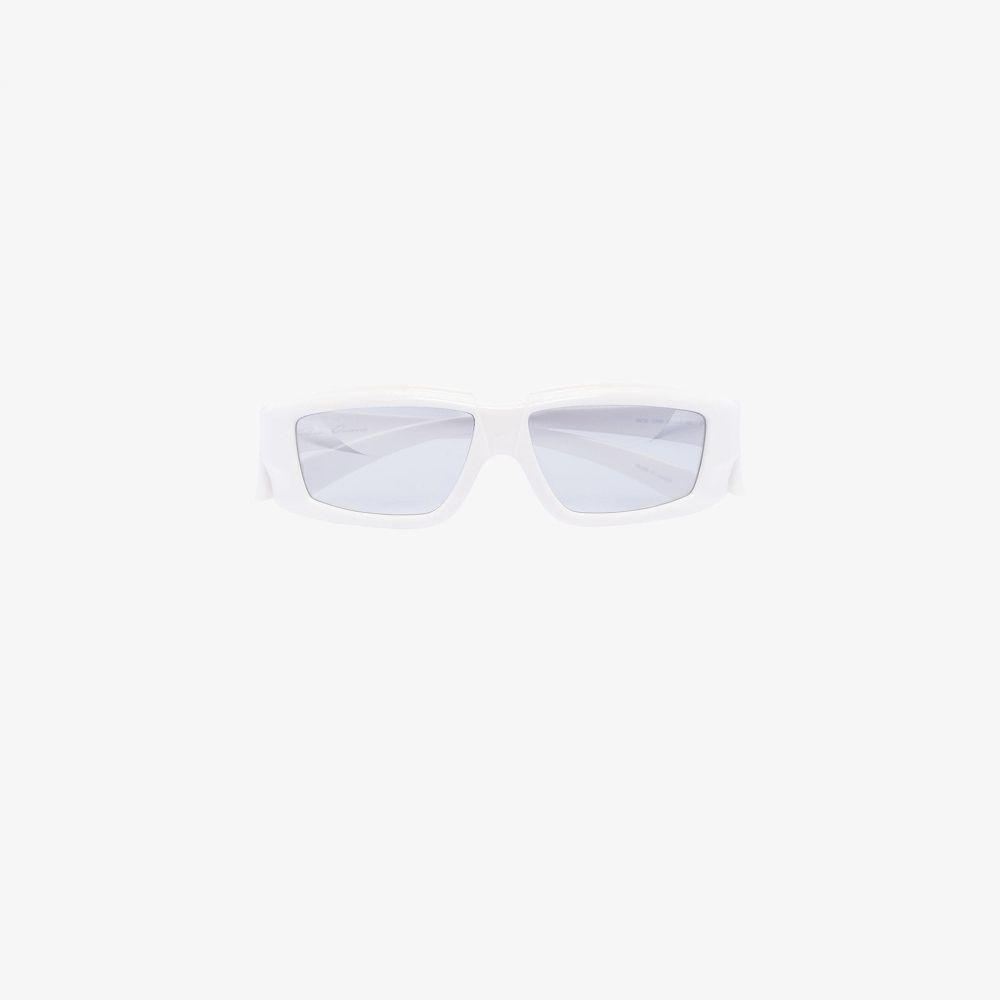 リック オウエンス Rick Owens メンズ メガネ・サングラス 【white larry rick mirrored sunglasses】white