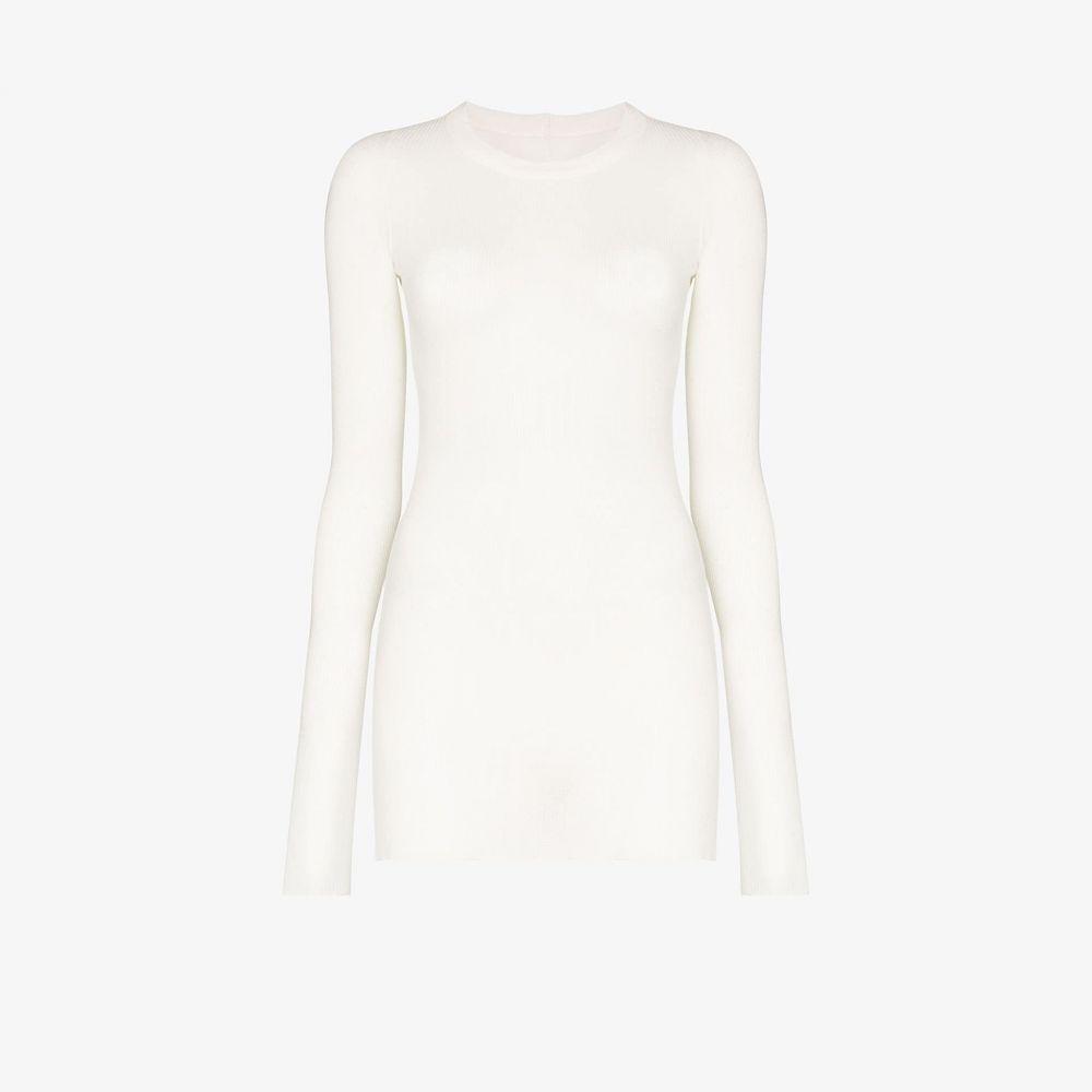 リック オウエンス Rick Owens レディース 長袖Tシャツ トップス【long sleeve ribbed T-shirt】white