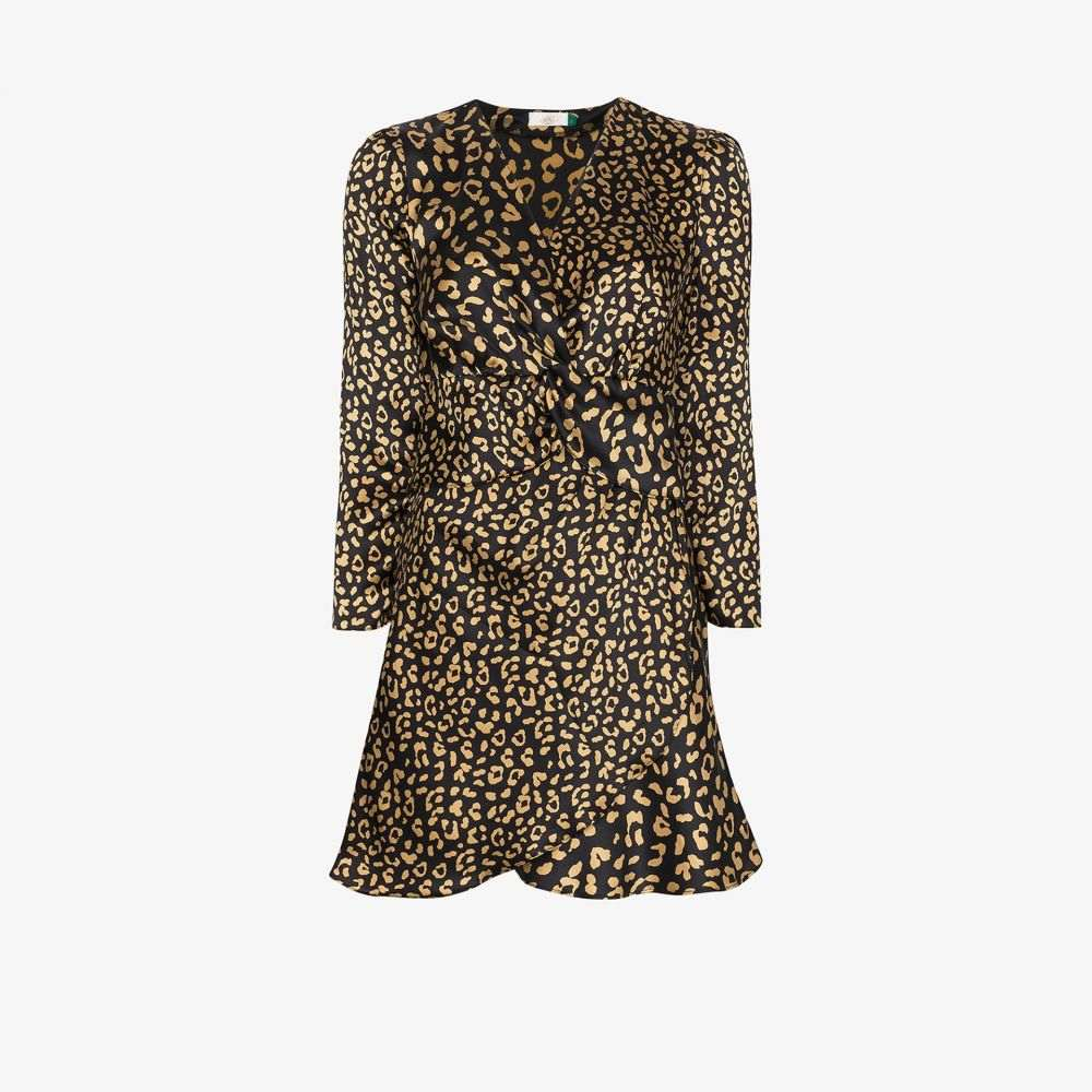 リキソ Rixo レディース パーティードレス ミニ丈 ワンピース・ドレス【Lilly leopard print silk mini dress】black