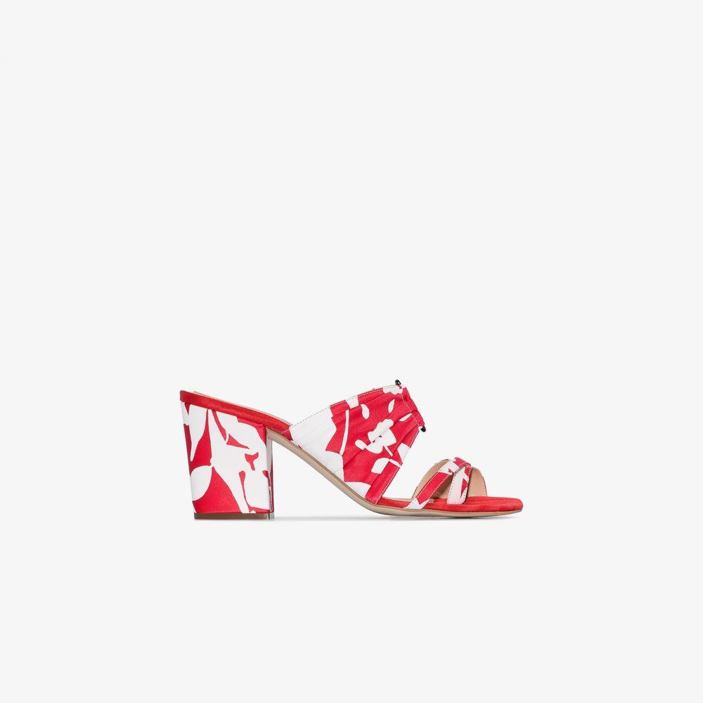 ロージーアスリン Rosie Assoulin レディース サンダル・ミュール シューズ・靴【red 70 pleated floral silk mules】red